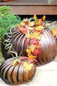 Make Dryer Vent Pumpkins by Upcycled Metal Pumpkin Tutorial Metal Pumpkins Pumpkins And
