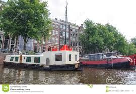 100 Boat Homes Traditional House On The Canals Of Amsterdam Editorial