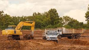 100 Truck Loader Industrial Excavator Moving Earth And Unloading Stock