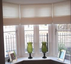 Kitchen Curtain Ideas For Bay Window by Red Roman Blinds On Our Kitchen Bay Window Under Checkered Curtain