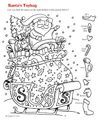 Hidden Santa Picture Coloring Page Printout More Fun Holiday Activities At SantaTimes