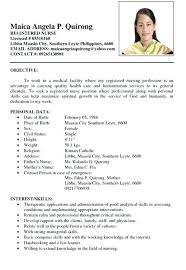 Sample Resume For Filipino Nurses Newly Graduated Curriculum Vitae