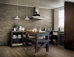 KitchenDazzling Exposed Brick Wall Inside Rustic Kitchen With Weathered Cart Dazzling
