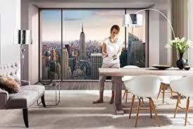 komar fototapete penthouse 368 x 254 cm tapete wandgestaltung wandtapete skyline stadt schlafzimmer wohnzimmer new york manhatten