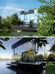 100 Modern Lake House Floor To Ceiling Windows Line The Walls Of This