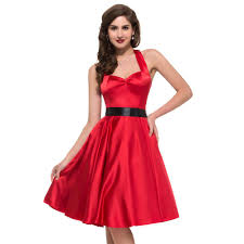 spring halter 1950s style rockabilly dress women casual party