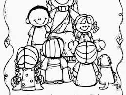 Jesus And The Children Coloring Pages Loves Little