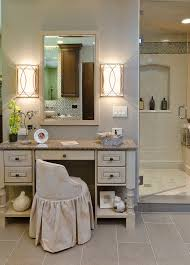 Rustic Candle Sconces Bathroom Traditional With Beige Makeup Chair Shower Cutout