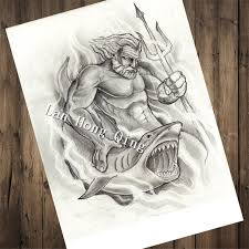 Vintage About Shark Warriors Hairdresser Tattoos Patterned Kraft Paper Poster Painting Art