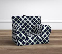 Pottery Barn Anywhere Chair Directions by Navy U0026 Green Lattice Anywhere Chair Pottery Barn Kids
