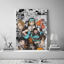 feuer kraft anime collage gerahmte leinwand poster malerei