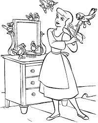 Cinderella In Her Room With Friends Coloring Page