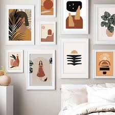 abstrakte mädchen anlage blatt vintage poster wand kunst leinwand malerei nordic poster und drucke wand bilder für wohnzimmer de