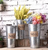 Retro Metal Planter Flowerpot Vintage Rustic Nostalgia Iron Buckets Garden Pots Tin Planters Bucket Storage Container KKA1587
