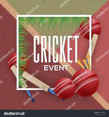 Material Design Background Cricket Event Poster Info Postcard And Sports Ad Web