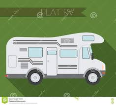 Flat Design Vector Illustration City Transportation RV For Travel And Camping Side View