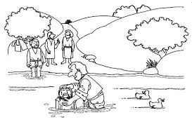 Jesus Baptism At The River Coloring Pages