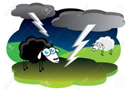 Black Sheep With Lightning Storm Stock Vector