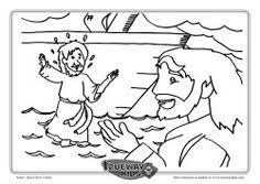 Peter Walks On Water Colouring Page