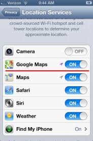 How do I turn on Location Service for Google Maps iPhone App