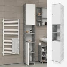 vicco badschrank fynn weiß grau beton badezimmerschrank hochschrank badmöbel schrank regal badregal