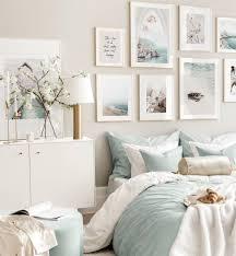 romantische hellblaue strand bilderwand naturposter schlafzimmer ideen