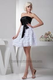 gorgeous short a line black and white party graduation dresses