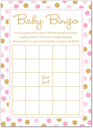 Pink Gold Dots Baby Shower Bingo Cards Game