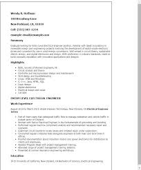 Electrical Engineering Resume Examples Advanced Professional Entry Level Engineer Templates To Tn U129035