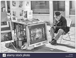 Artist With Paintings For Sale In Monochrome At Venice Italy January