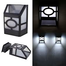 new solar powered wall mount led light garden path outdoor fence