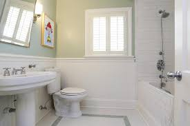 subway tile wainscoting bathroom home design