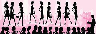 Girly Fashion Show Silhouette Vector Art Illustration