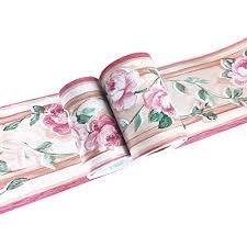 wandaufkleber rosa blumenmuster für badezimmer küche decken fliesen bordüre wasserdicht abnehmbar 10 cm x 10 m