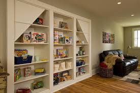 Playroom Storage Ideas Living Room Rustic With Built In Bookcase