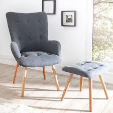 design sessel scandinavia grau inkl hocker retro look stuhl