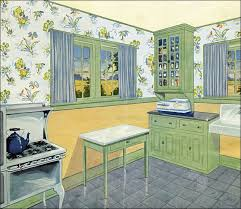 During The Early And Mid 20s Lighter Colors Were Often Used By End Of Decade Colored Cabinetry Became More Popular This Green Yellow Scheme