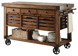 Kaif Kitchen Cart Distress Chestnut Finish Industrial For Island Decor 13
