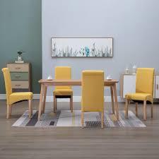 vidaxl esszimmerstühle 4 stk gelb stoff gitoparts