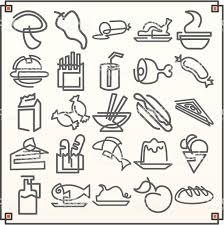 Continuous Line Icons Foods I Vector Royalty Free