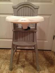 Shabby Chic Ed Bauer high chair Paris grey Annie Sloan chalk paint distressed then coated