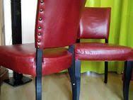 4 echte rote leder stühle massiv holz gepolstert