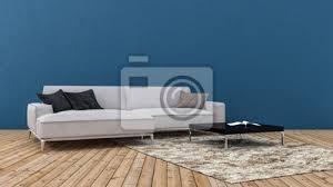 fototapete sofa im geräumigen wohnzimmer gegen blaue wand