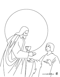 Jesus Sharing Bread And Wine Coloring Page