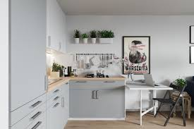 Grey And Wood Kitchen Scandinavian Potted Plants