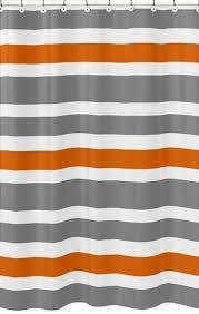 Gray and Orange Stripe Kids Bathroom Fabric Bath Shower Curtain
