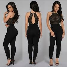 solid black lace up jumpsuits night club wear rompers women