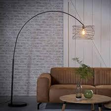 famlights bogenleuchte riccardo aus metall in antharzit 1x e27 industrial design gedreht stehle für wohnzimmer designerleuchte stehleuchte