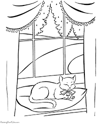 Coloring Page Of A Cat Napping