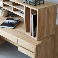 bureau teck massif bureau en teck massif naturel 5 tiroirs 10 niches decoclico